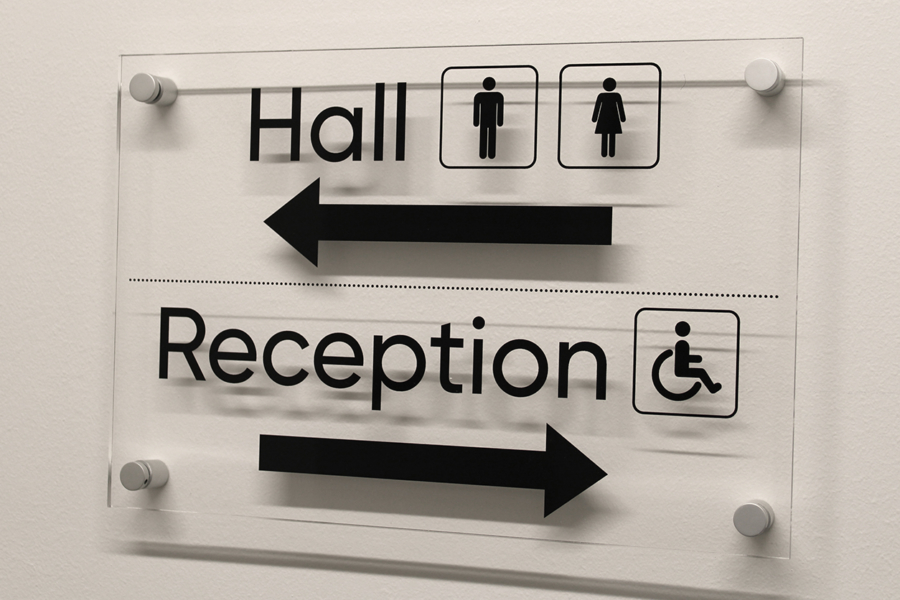 Reception Direction Perspex Sign